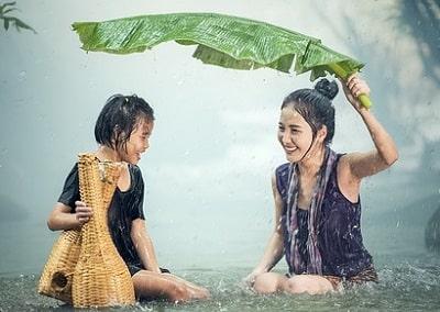 雨が降っても笑顔
